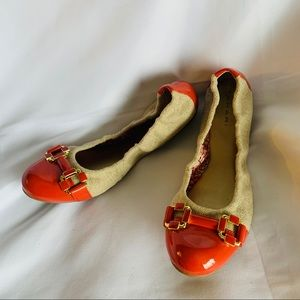 TAHARI Orange Leather & Fabric Ballet Flats